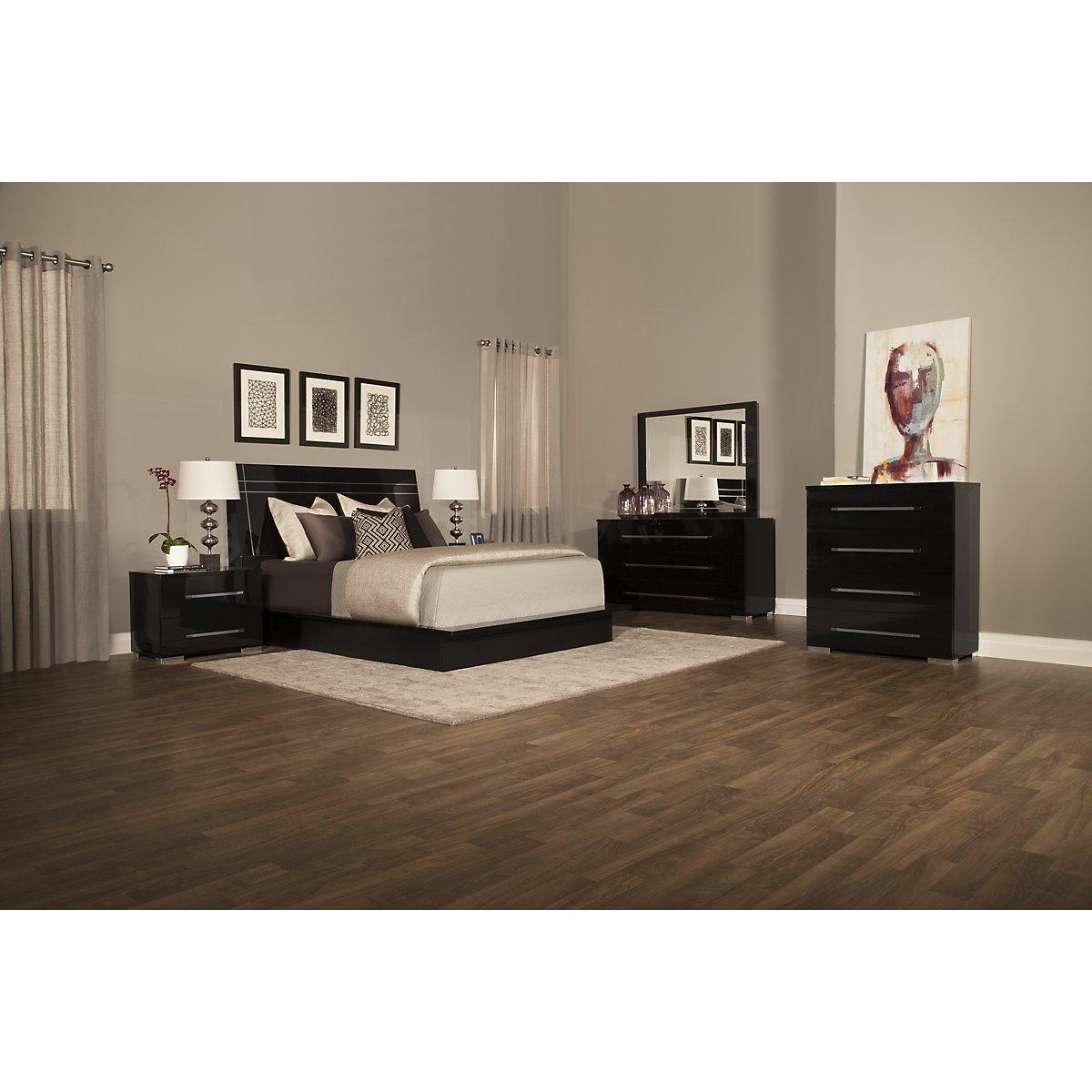 City Furniture: Dimora3 Black Wood Platform Bed