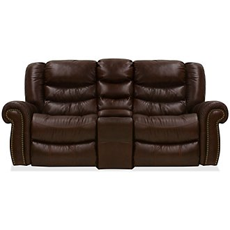 Peyton2 Dark Brown Leather & Vinyl Reclining Console Loveseat