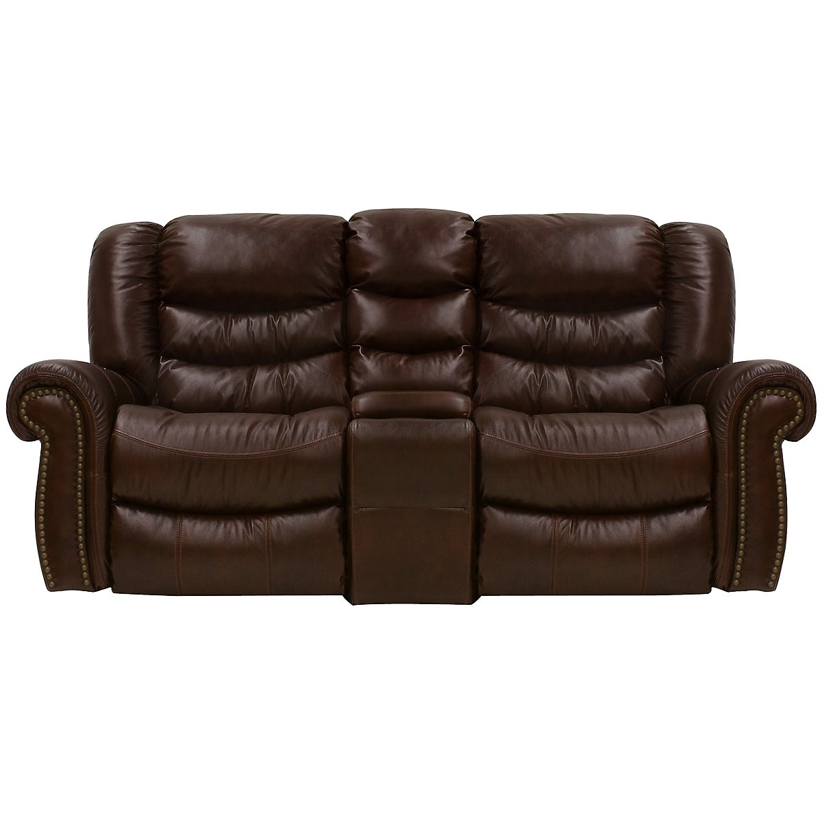 Peyton2 Dk Brown Leather & Vinyl Power Reclining Console Loveseat