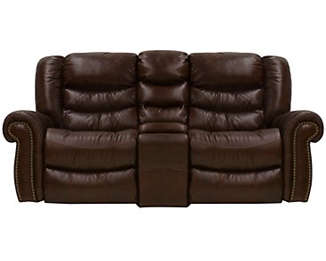 Peyton2 Dark Brown Leather & Vinyl Power Reclining Console Loveseat