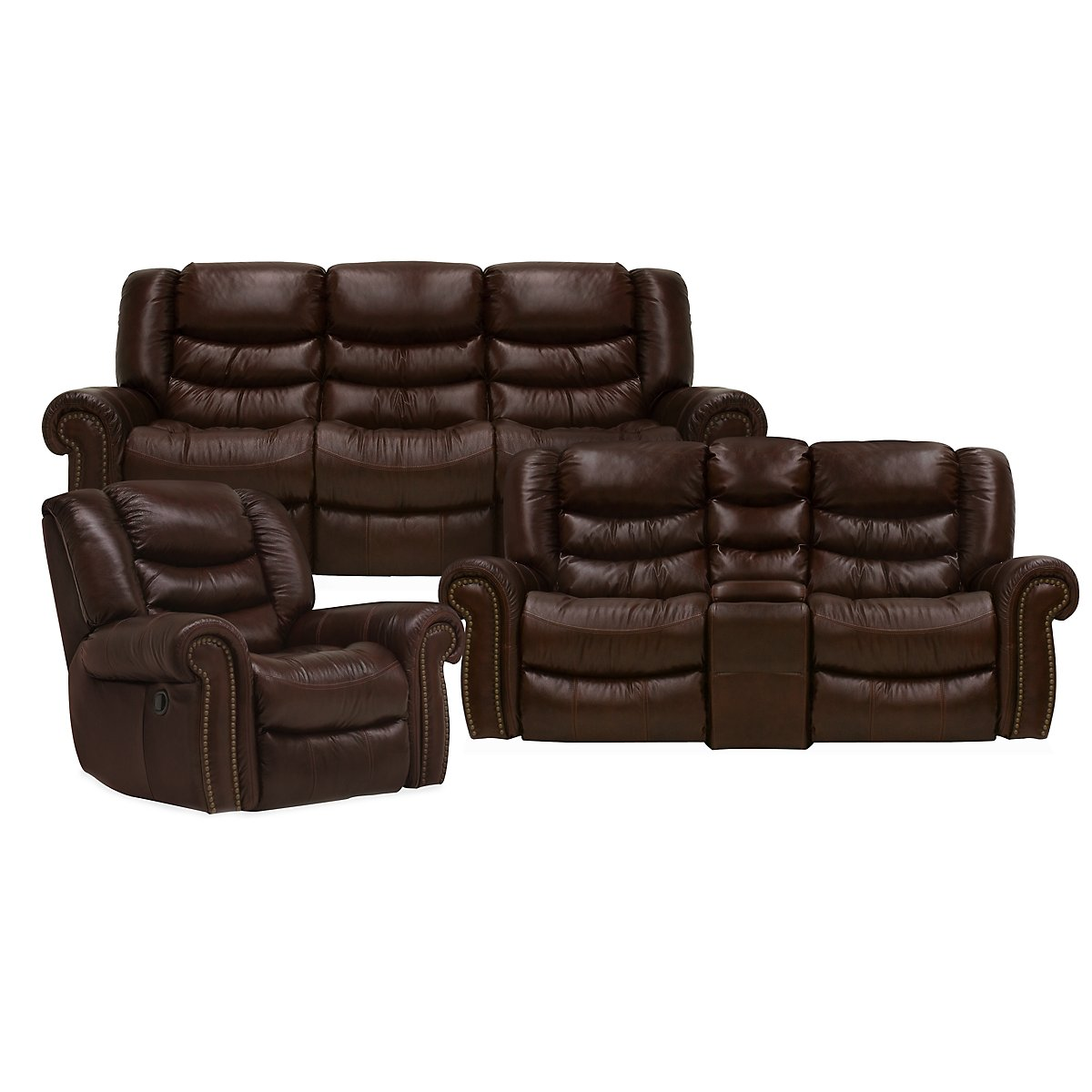 Peyton2 Dk Brown Leather & Vinyl Power Reclining Living Room