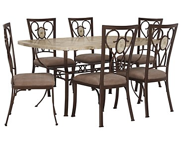 Brookside Rectangular Stone Table & 4 Chairs