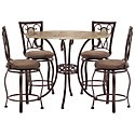 Brookside Round Stone High Table & 4 Barstools