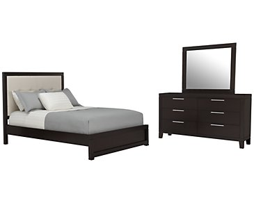 Encore2 Dark Tone Bonded Leather Platform Bedroom
