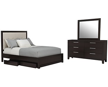 Encore2 Dark Tone Bonded Leather Platform Storage Bedroom
