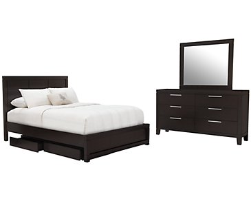 Encore2 Dark Tone Wood Platform Storage Bedroom