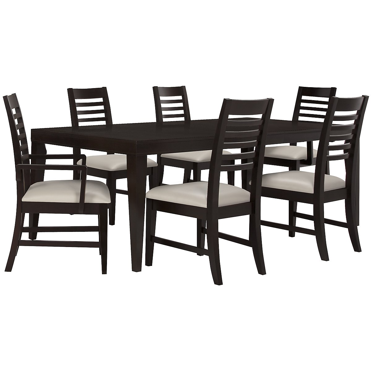 Encore2 Dark Tone Rectangular Table & 4 Slat Chairs