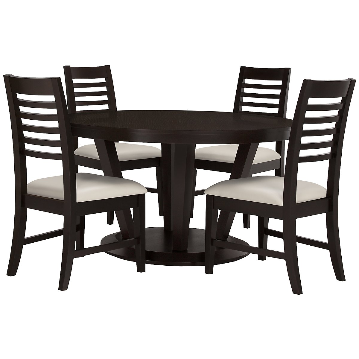 Encore2 Dark Tone Round Table & 4 Slat Chairs