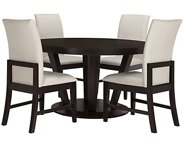 Encore2 Dark Tone Round Table & 4 Upholstered Chairs