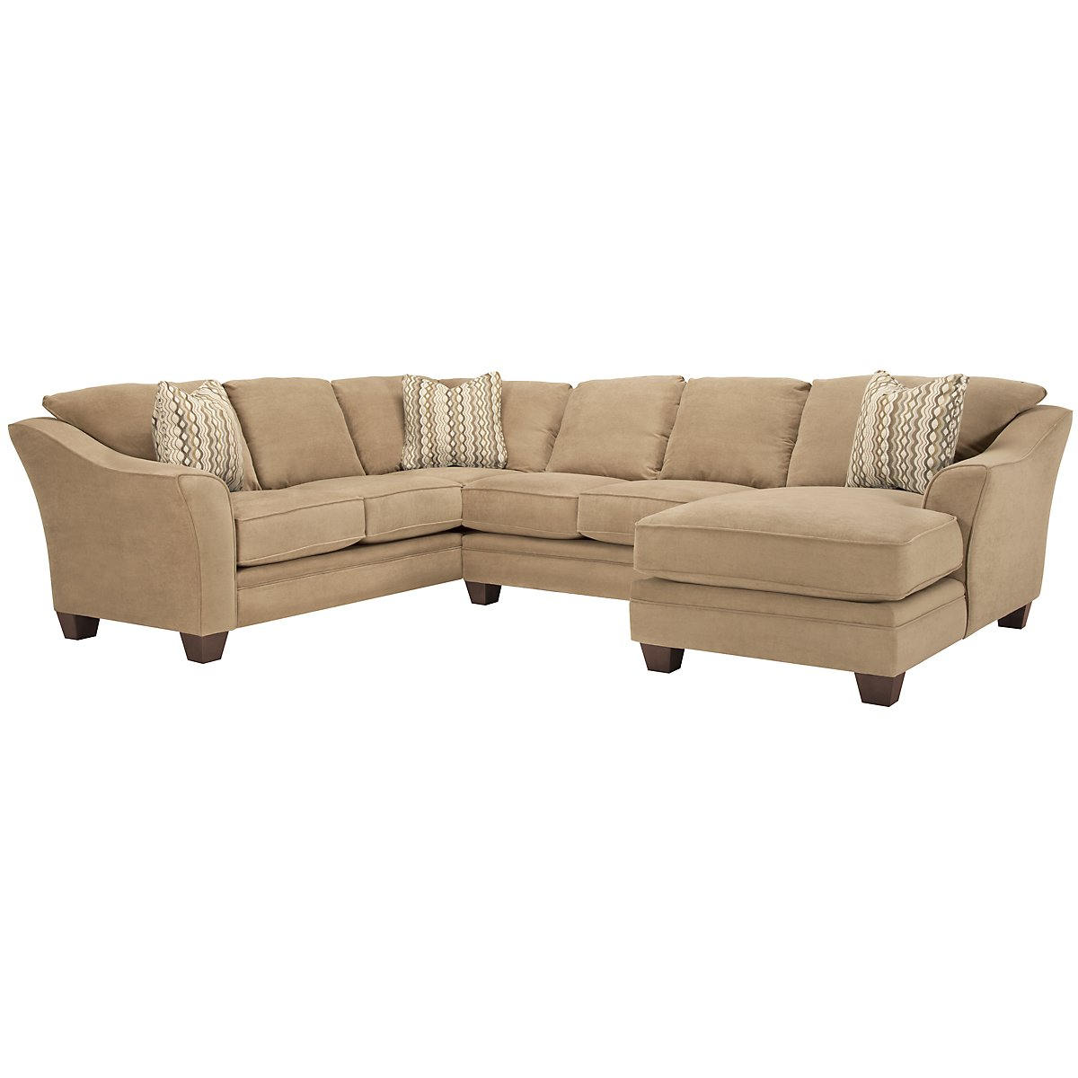 Grant2 Lt Brown Microfiber Right Chaise Sectional