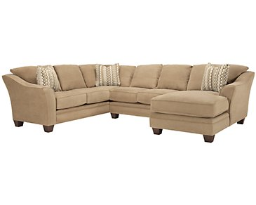 Grant2 Light Brown Microfiber Right Chaise Sectional