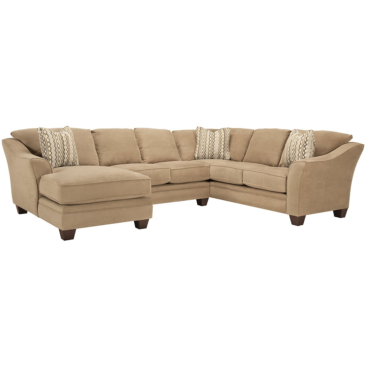 Grant2 Light Brown Microfiber Left Chaise Sectional