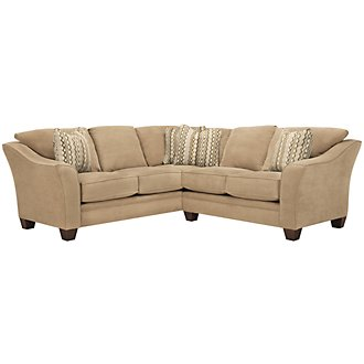 Grant2 Lt Brown Microfiber Two-Arm Sectional