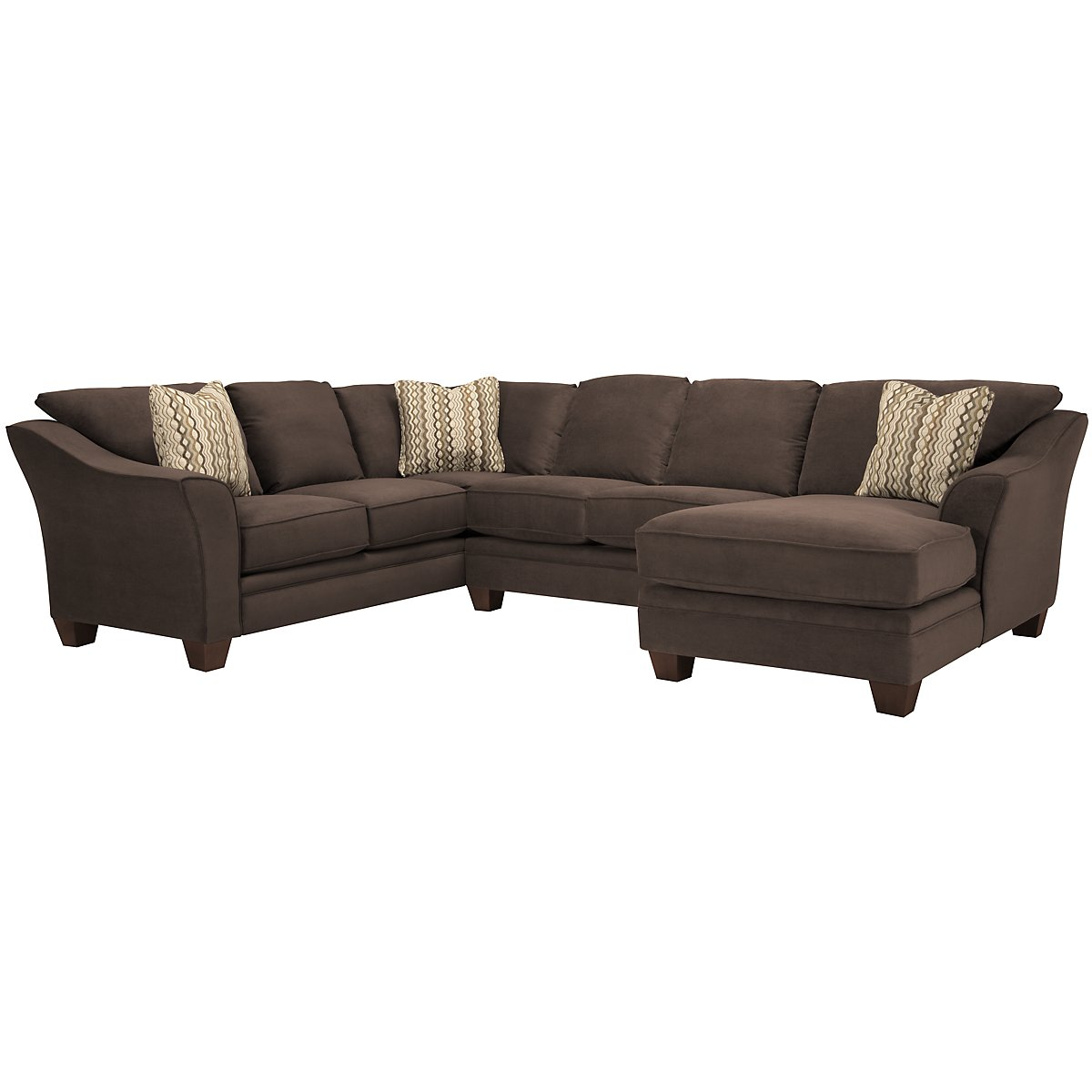 Grant2 Dk Brown Microfiber Right Chaise Sectional