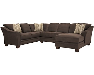 Grant2 Dark Brown Microfiber Right Chaise Sectional