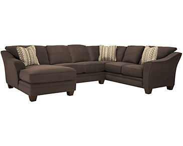 Grant2 Dark Brown Microfiber Left Chaise Sectional