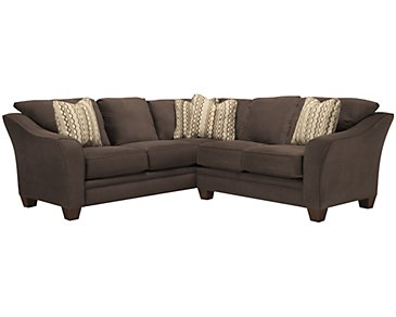 Grant2 Dark Brown Microfiber Two-Arm Sectional