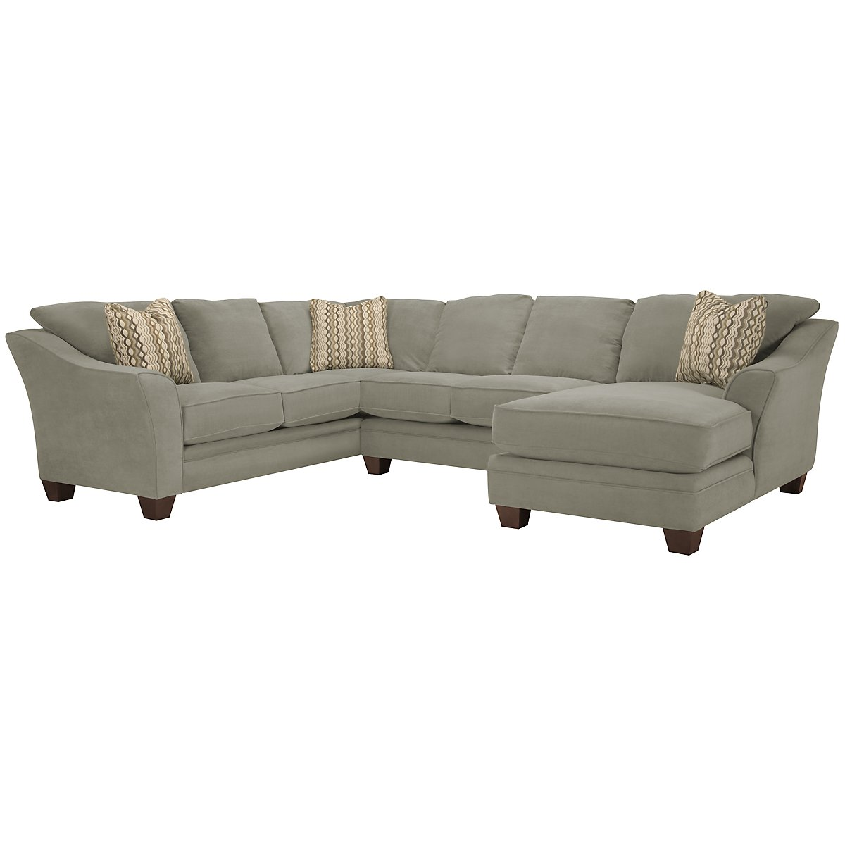 Grant2 Lt Green Microfiber Right Chaise Sectional