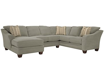 Grant2 Light Green Microfiber Left Chaise Sectional