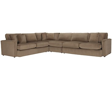 Tara2 Dark Taupe Microfiber Large Two-Arm Sectional