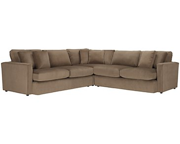 Tara2 Dark Taupe Microfiber Small Two-Arm Sectional