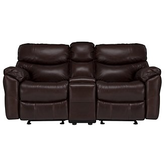 Derek Dark Brown Leather & Vinyl Reclining Console Loveseat