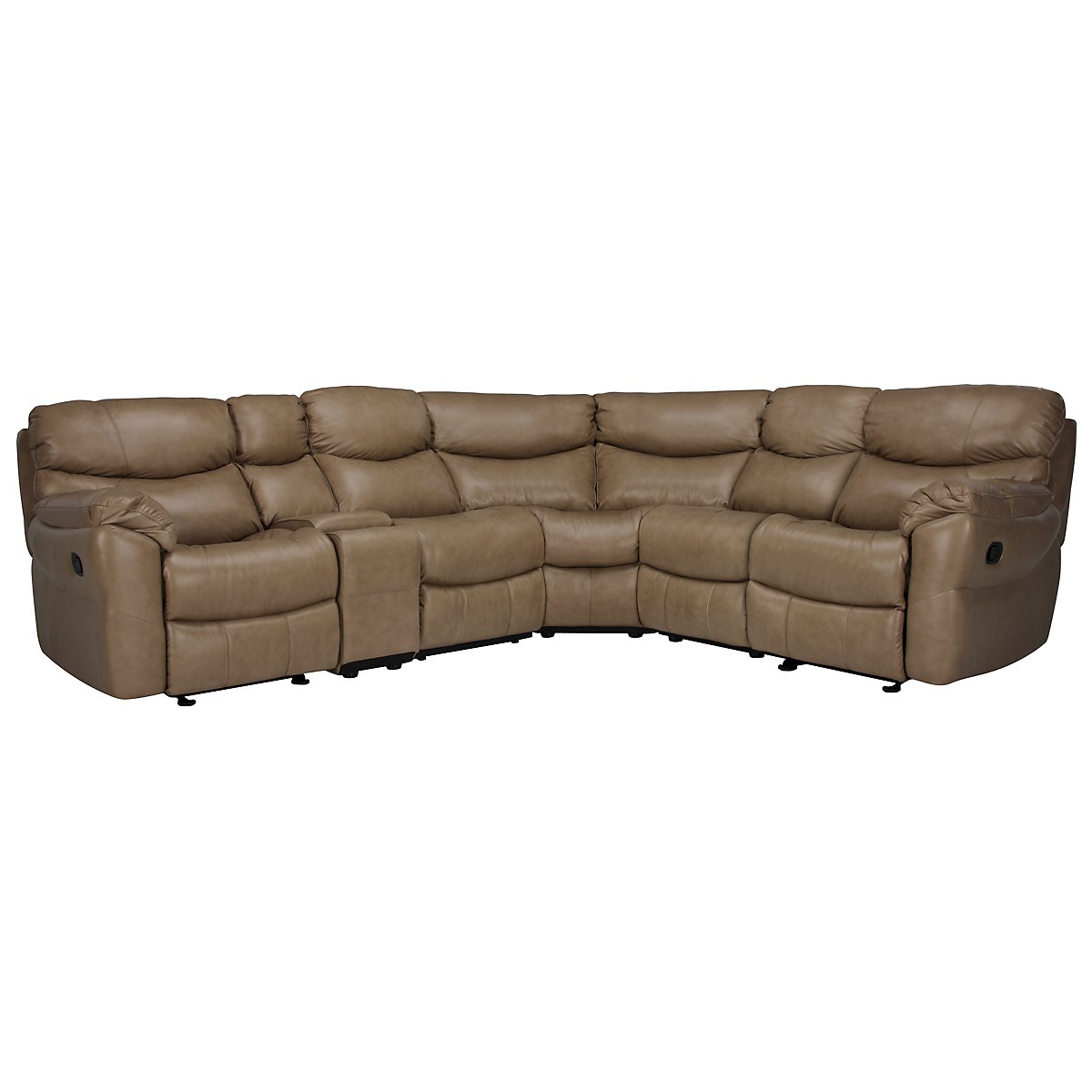 Derek Dk Taupe Leather & Vinyl Two-Arm Manually Reclining Sectional