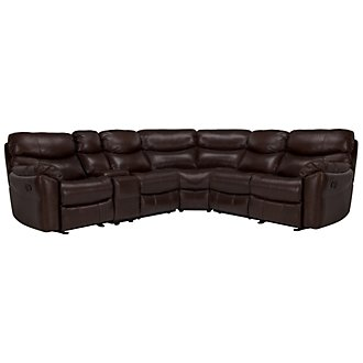 Derek Dark Brown Leather & Vinyl Two-Arm Manually Reclining Sectional