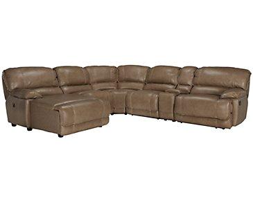 Benson Dark Taupe Leather & Vinyl Left Chaise Manually Reclining Sectional