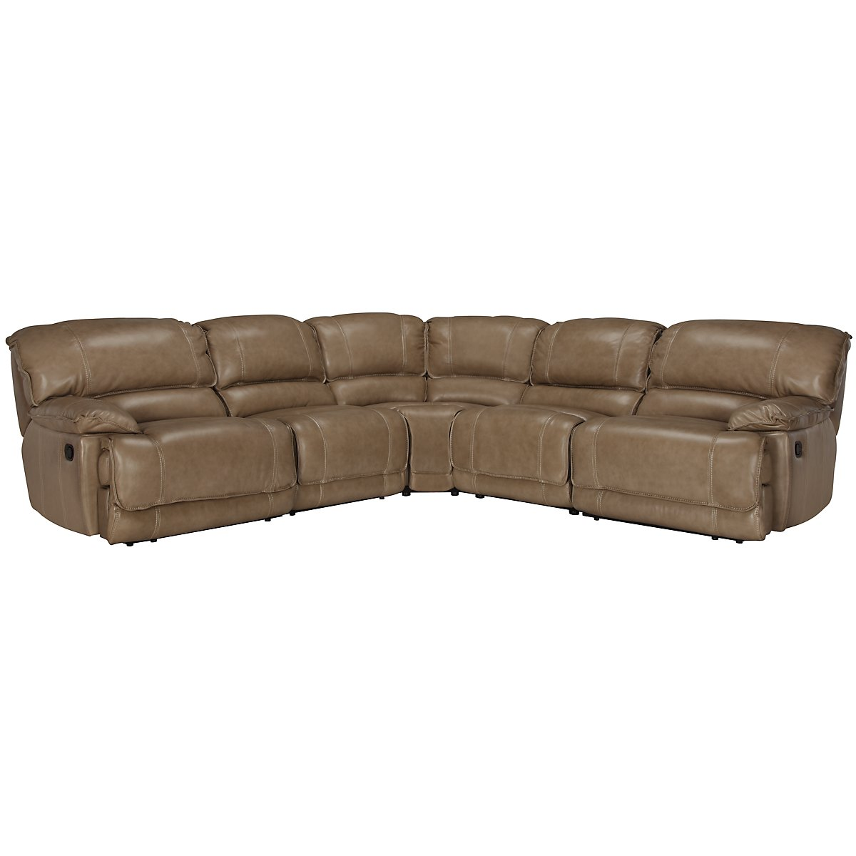 Benson Dk Taupe Leather & Vinyl Small Two-Arm Manually Reclining Sectional
