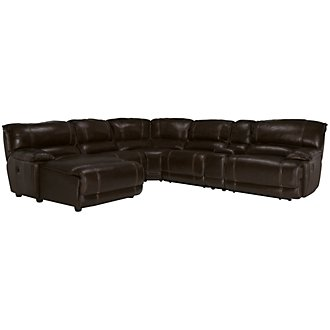 Benson Dark Brown Leather & Vinyl Left Chaise Manually Reclining Sectional