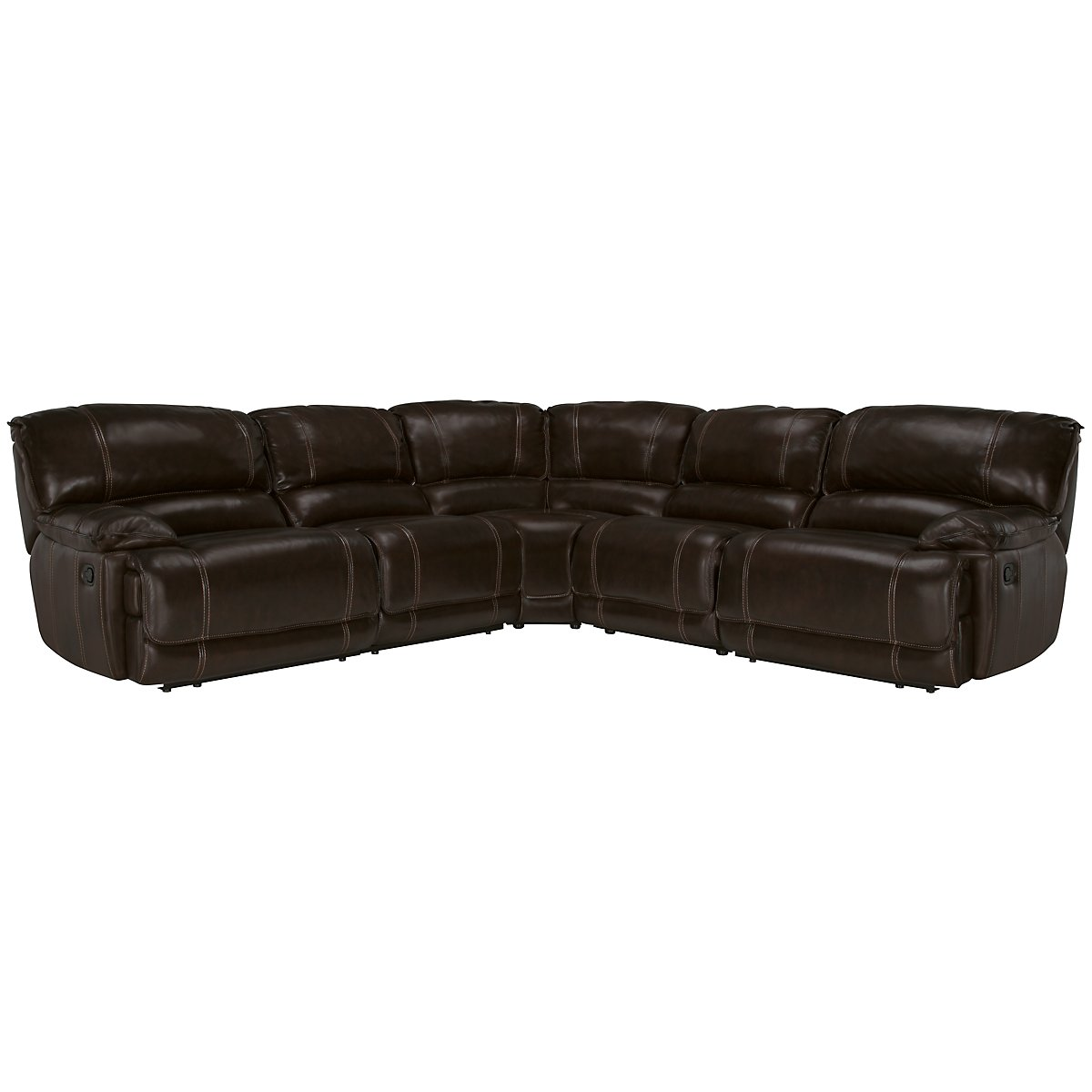 Benson Dk Brown Leather & Vinyl Small Two-Arm Manually Reclining Sectional