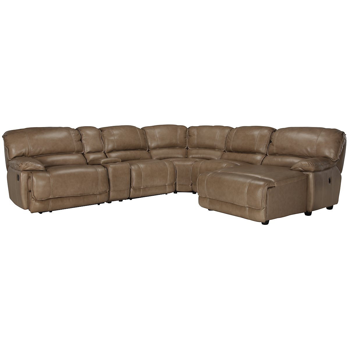 Benson Dk Taupe Leather & Vinyl Right Chaise Power Reclining Sectional