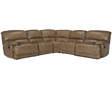 Benson Dark Taupe Leather & Vinyl Small Two-Arm Power Reclining Sectional