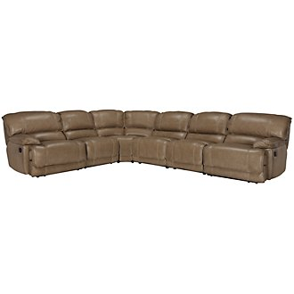 Benson Dark Taupe Leather & Vinyl Large Two-Arm Manually Reclining Sectional