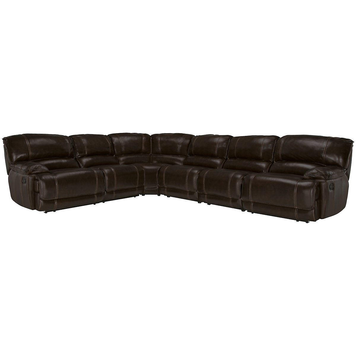 Benson Dk Brown Leather & Vinyl Large Two-Arm Power Reclining Sectional