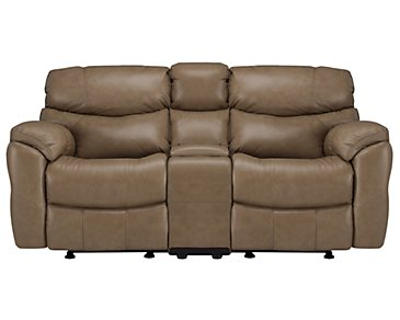 Derek Dark Taupe Leather & Vinyl Power Reclining Console Loveseat