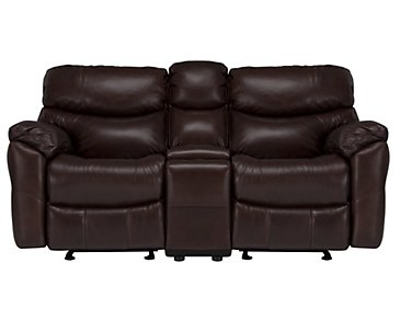 Derek Dark Brown Leather & Vinyl Power Reclining Console Loveseat