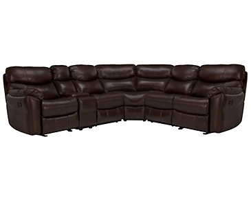 Derek Dark Brown Leather & Vinyl Two-Arm Power Reclining Sectional