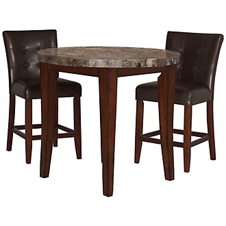 City Lights Round Marble High Dining Table & 2 Upholstered Barstools
