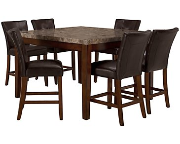 City Lights Square Marble High Table & 4 Upholstered Barstools