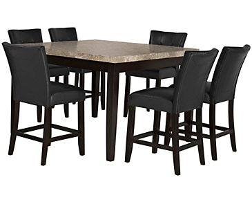 Monark Square Marble High Table & 4 Upholstered Barstools