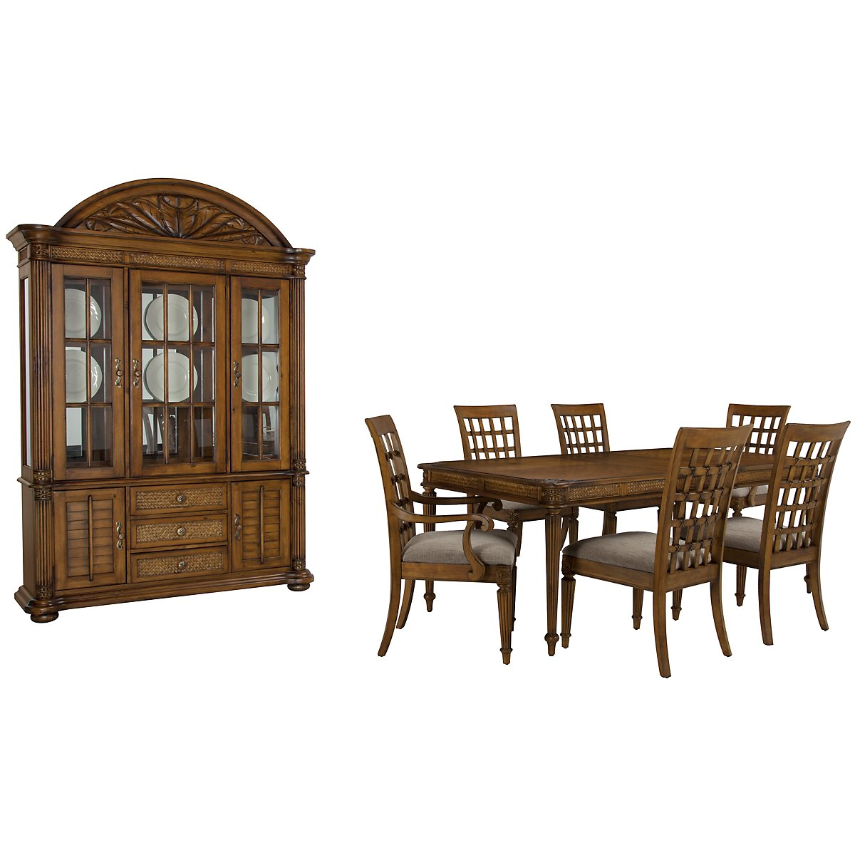 Palm Mid Tone Rectangular Dining Room