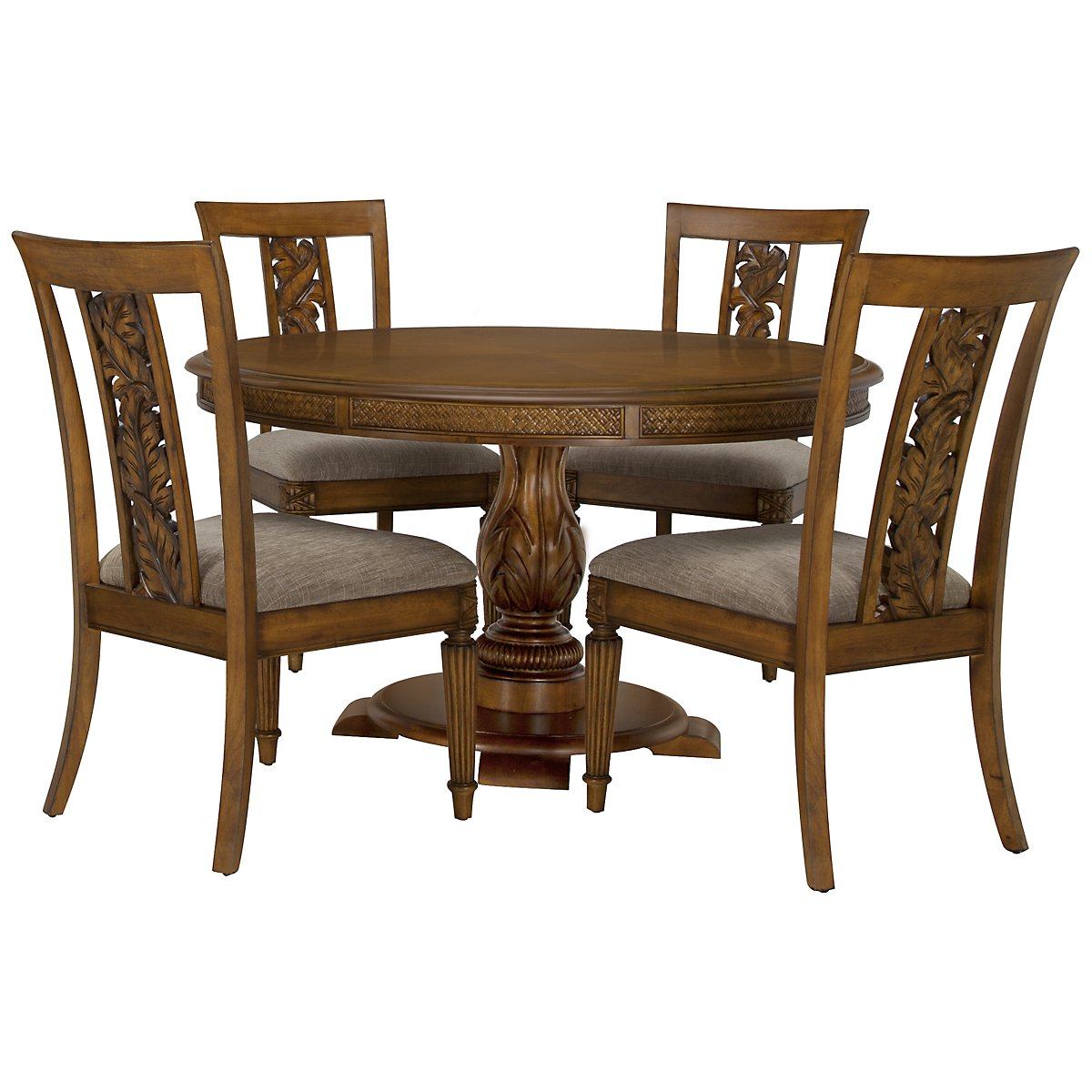 Palm Mid Tone Round Table & 4 Carved Chairs