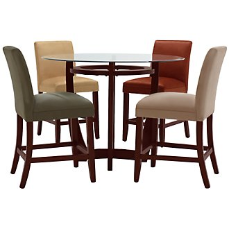 Park Round Glass High Table & 4 Barstools