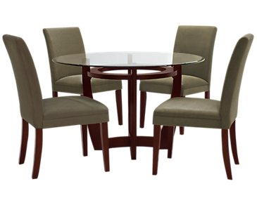 Park Glass Round Table & 4 Chairs