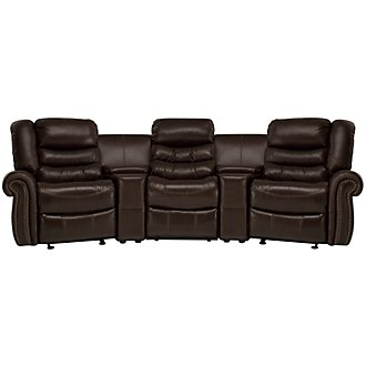 Peyton2 Dark Brown Leather & Vinyl Small Manually Reclining Home Theater Sectional
