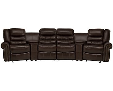 Peyton2 Dark Brown Leather & Vinyl Large Manually Reclining Home Theater Sectional