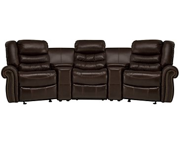 Peyton2 Dark Brown Leather & Vinyl Small Power Reclining Home Theater Sectional