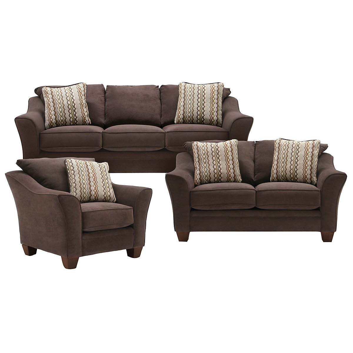 Grant2 Dark Brown Microfiber Living Room